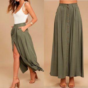 PISTOLA My Squad Olive Green Maxi Skirt - XS